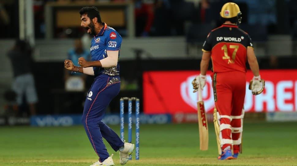 Mumbai Indians paceman Jasprit Bumrah celebrates after dismissing AB de Villiers of the Royals Challengers Bangalore in their IPL 2021 match in Dubai. (Photo: PTI)
