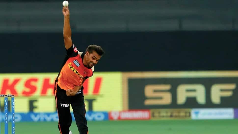 Sunrisers Hyderabad paceman Sandeep Sharma bowls against Rajasthan Royals in their IPL 2021 match in Dubai. (Photo: BCCI/IPL)