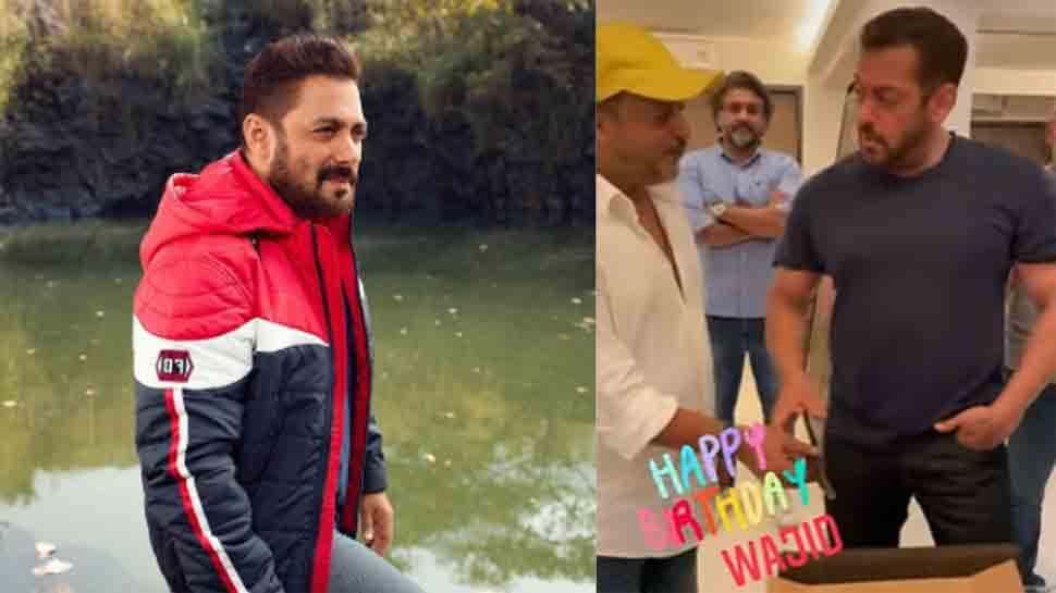 Salman Khan cuts cake on Wajid Khan's birth anniversary with his brother Sajid, rumoured girlfriend Iulia Vantur