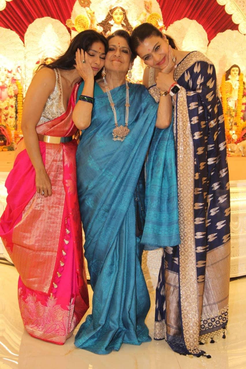 Veteran actress Tanuja poses with daughters Kajol and Tanishaa at Durga Pujo 2021