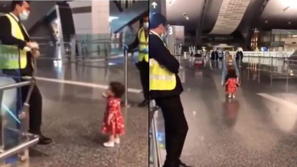Adorable! Little girl asks airport security if she can hug her aunt goodbye- Watch viral video thumbnail