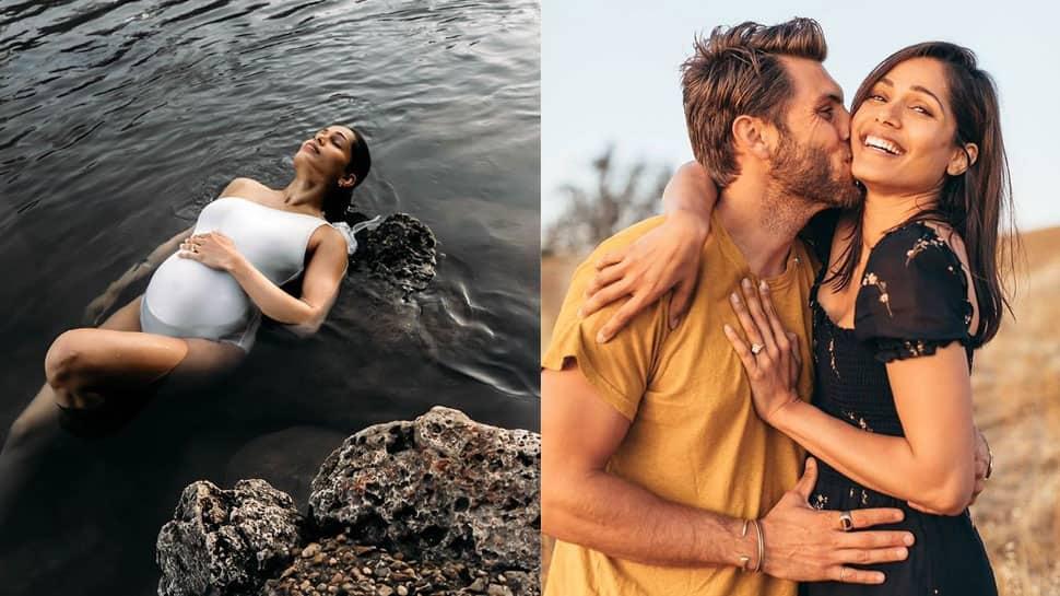 Preggers Freida Pinto dons white monokini, drops stunning photoshoot in spring pool – In Pics