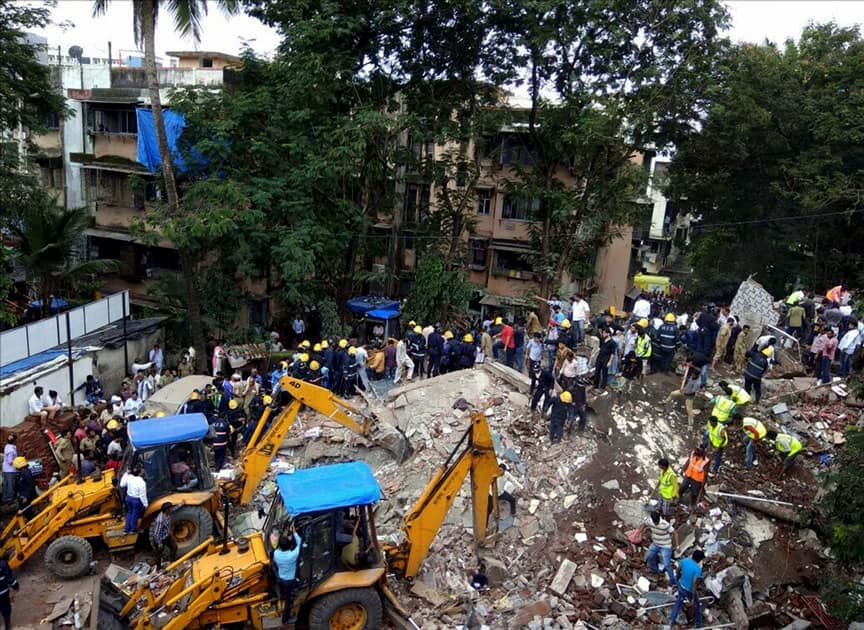 Two wings of a four-storey building collapsed