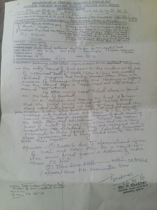 Aditya Sachdeva post-mortem