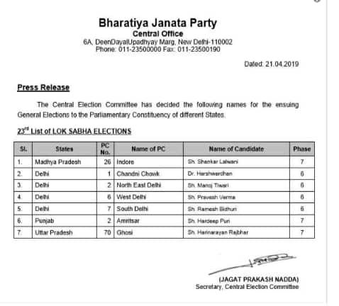 Lok Sabha election 2019: BJP releases list of candidates for Delhi