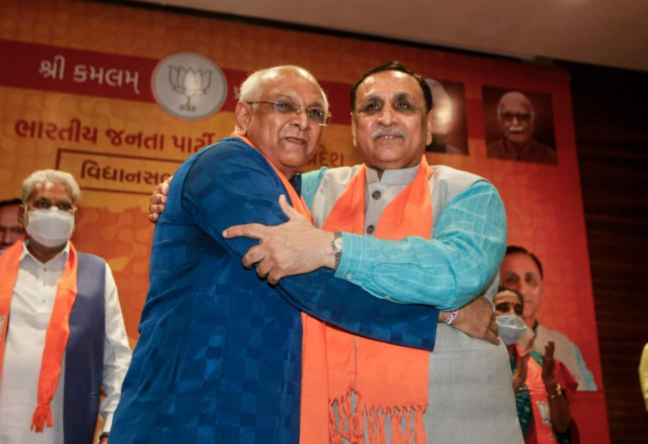 Bhupendra Patel with Vijay Rupani