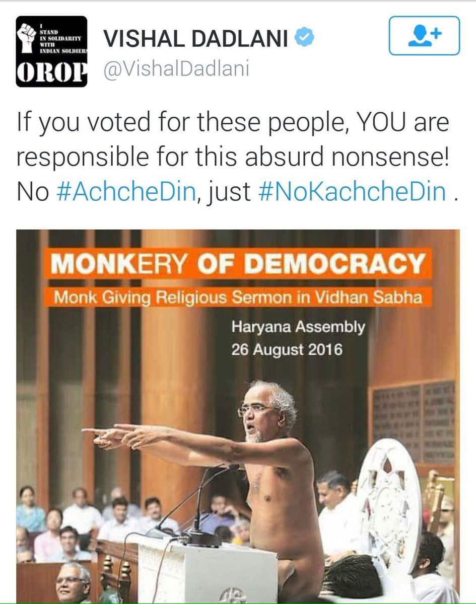 Vishal Dadlani tweet on Jain monk
