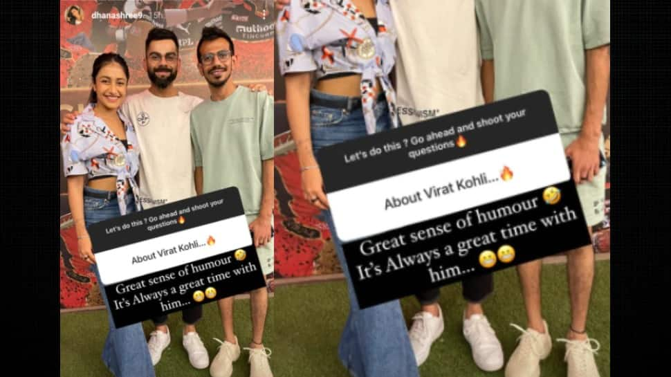 Dhanashree Verma replying to a fan about Virat Kohli on her Instagram chat. (Source: Instagram)