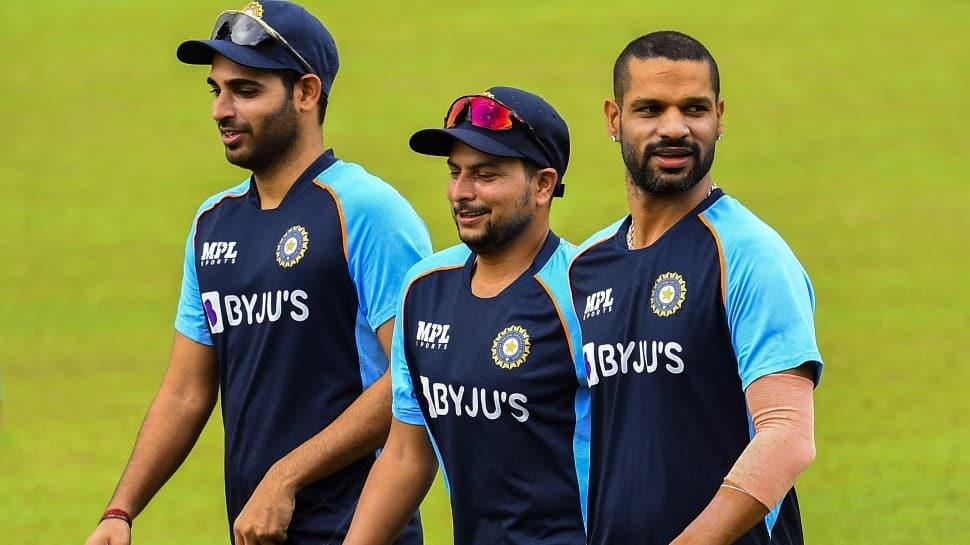 India's Bhuvneshwar Kumar (from left), Kuldeep Yadav and Shikhar Dhawan at training in Colombo. (Photo: SLC)