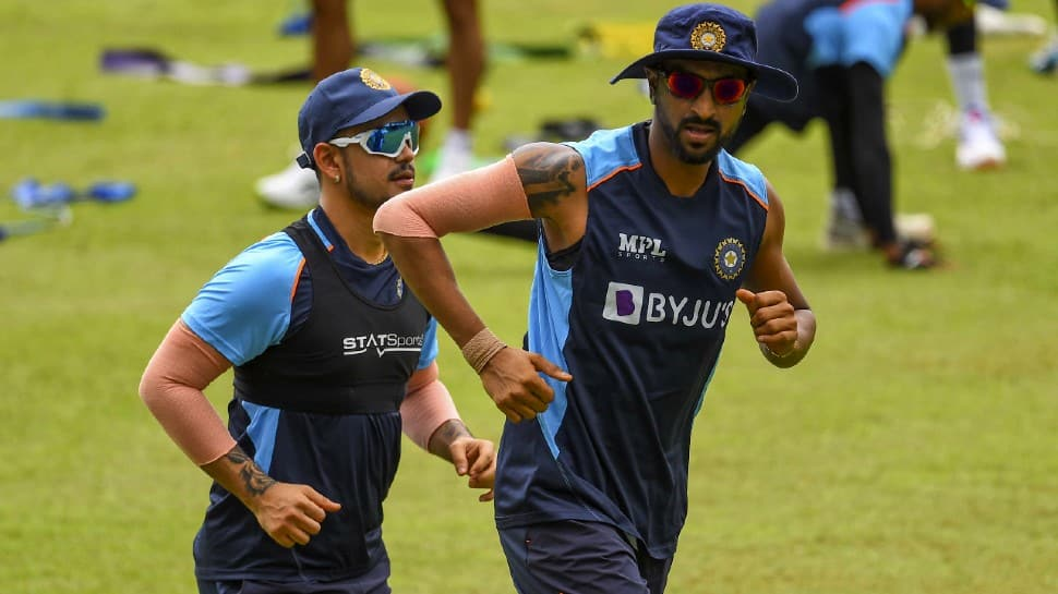 All-rounder Krunal Pandya (right) with Ishan Kishan at a practice session in Colombo. (Photo: SLC)