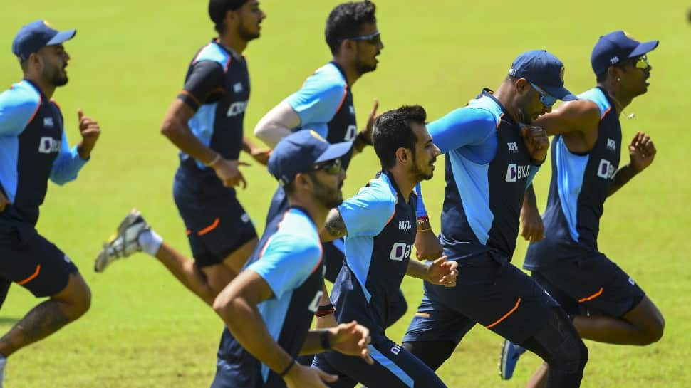 Indian leg-spinner Yuzvendra Chahal warms up before training session in Colombo. (Photo: SLC)
