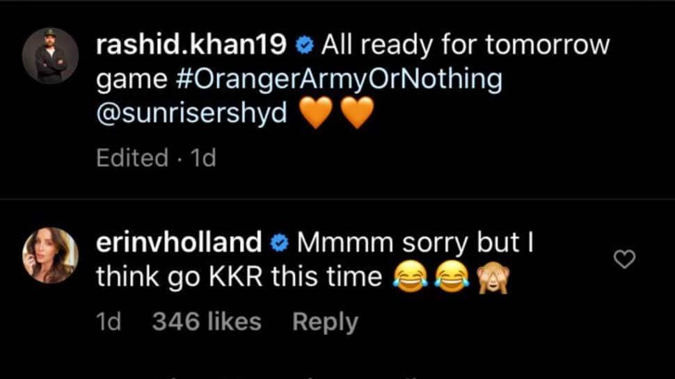 Instagram exchange between Rashid Khan and Erin Holland. (Source: Instagram)