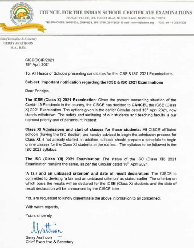 ICSE Board cancels class 10 exams