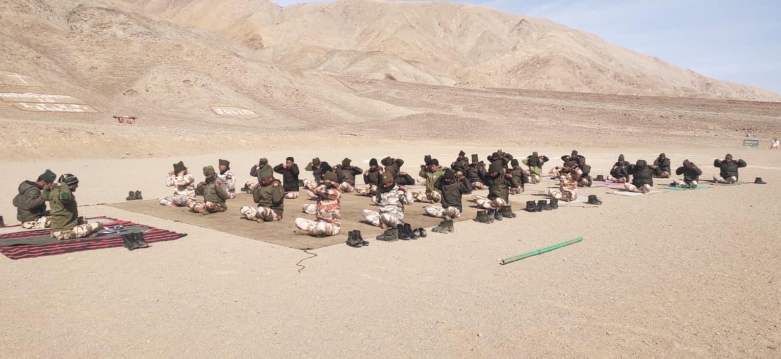 ITBP troops performing Yoga at 18,000 feet