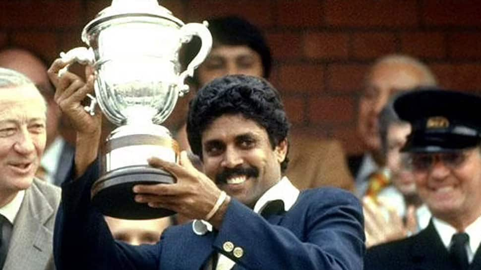 Kapil Dev holding the trophy after Team India defeated West Indies in the 1983 World Cup
