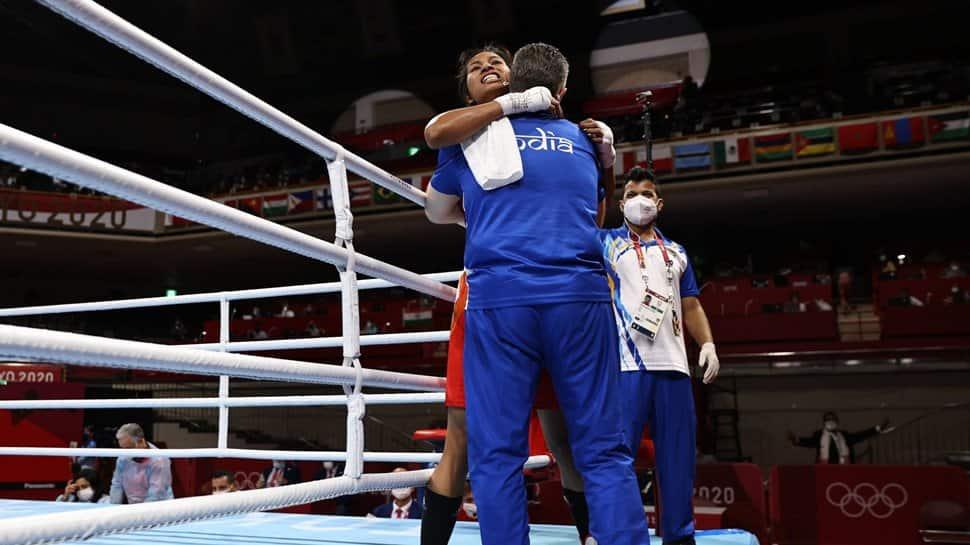 Lovlina Borgohain celebrates at Tokyo Olympics
