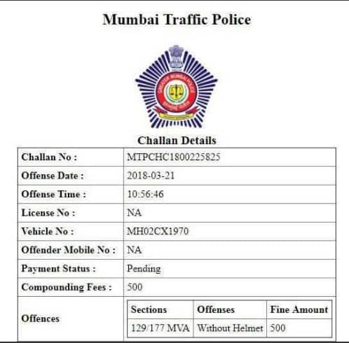 Mumbai Police e-challan