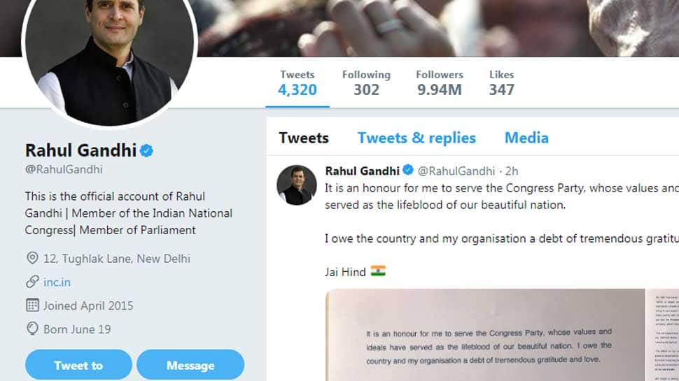 Rahul Gandhi removes `Congress President` from Twitter bio