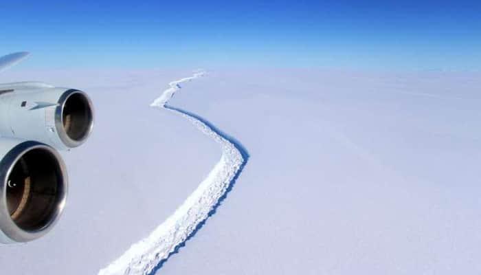 The Larsen C ice rift aerial view