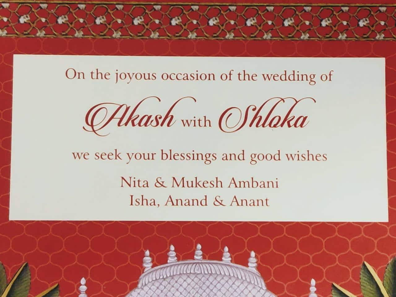 Akash Ambani-Shloka Mehta to tie the knot today