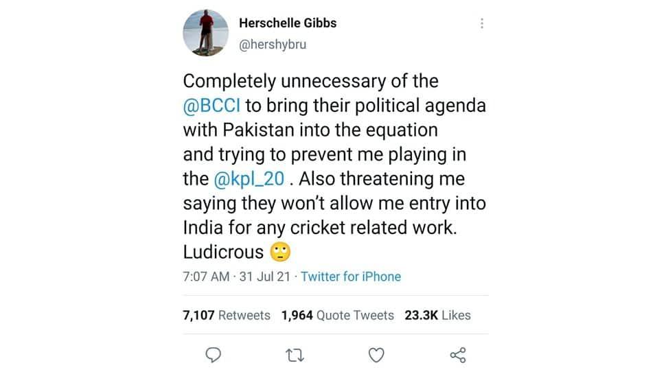 Herschelle Gibbs Kashmir Premier League tweet