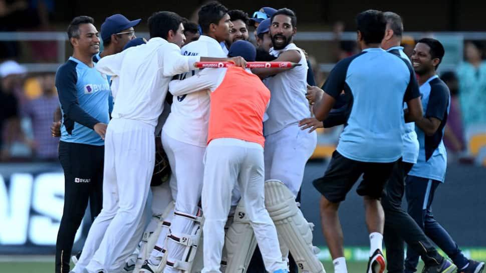Team India celebrate after win against Australia in Brisbane. (Source: Twitter/BCCI)