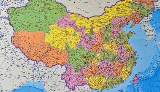 China Map With India on