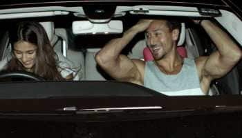Disha Patani is all smiles with rumoured beau Tiger Shroff as they head for a drive—Pics