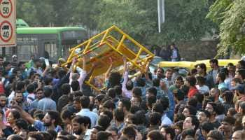 JNU students protest against Zee News, misbehave with reporter during march to Parliament
