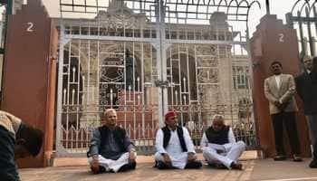 Unnao rape case: SP chief Akhilesh Yadav on 'dharna' outside UP assembly; Priyanka Gandhi to meet victim's family