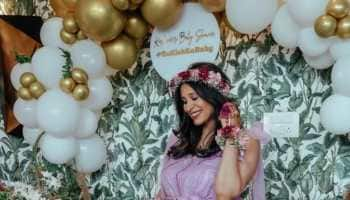 Kishwer Merchantt glows in royal purple gown at her baby shower - See inside pics!