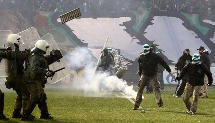 Greek football championship suspended after violence