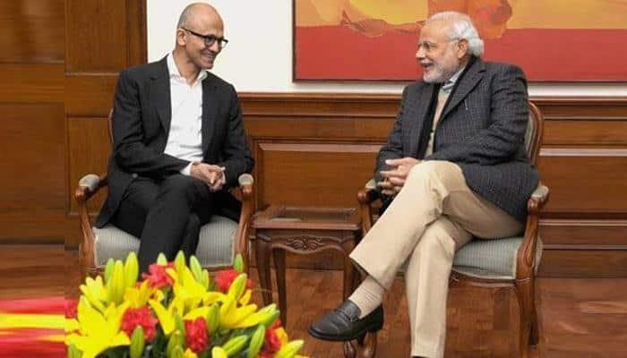 PM Modi meets Satya Nadella, Sundar Pichai in Silicon Valley