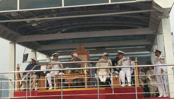 President Mukherjee reviews Navy's fleet, PM Modi and Parrikar also present