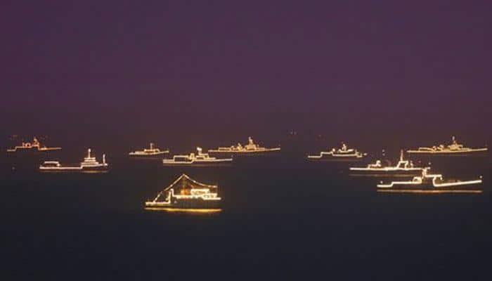 Breathtaking illuminated Naval ships at International Fleet Review - Watch