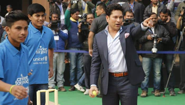 Batting great Sachin Tendulkar bats against child labour