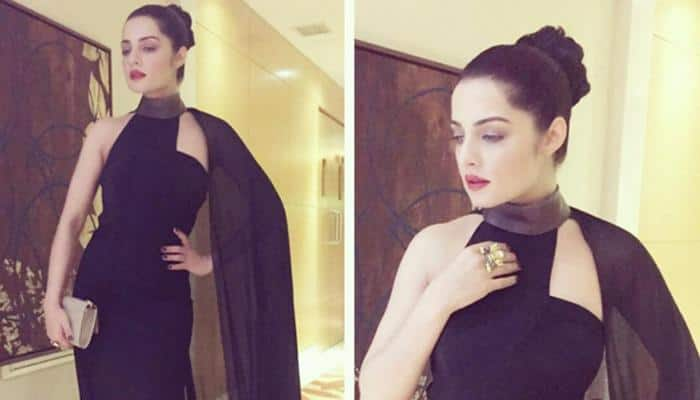 Celina Jaitly sizzles in elegant black gown and red lips at red carpet in Dubai – See pic