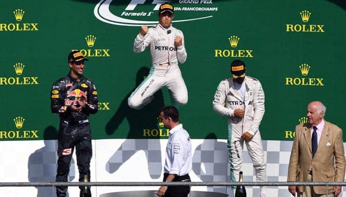 Belgian Grand Prix: Nico Rosberg cruises to victory at Spa, Lewis Hamilton third