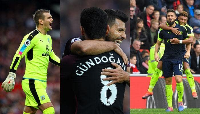 EPL Roundup: Man City, Arsenal forge ahead; Tom Heaton heroics thwart 10-man Man Utd