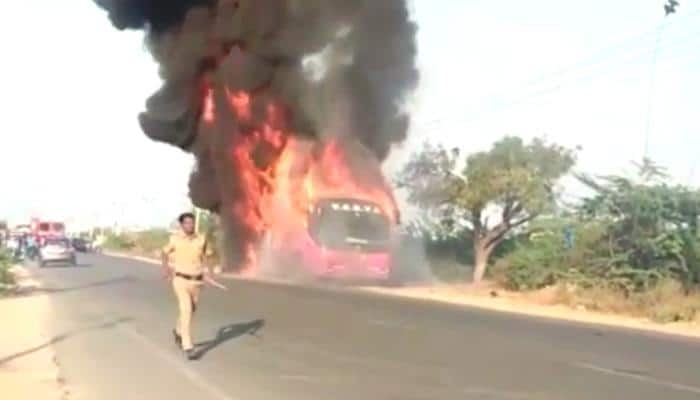 Telangana bus catches fire during journey - Watch video