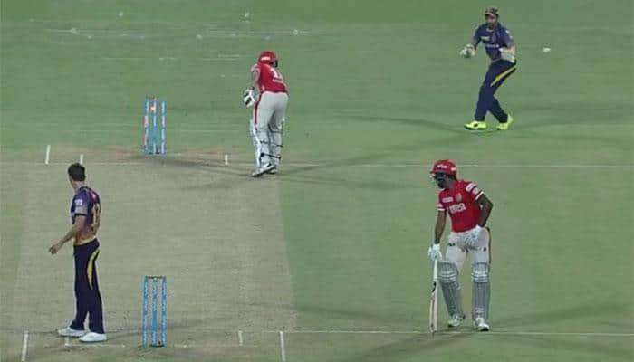 IPL 2017: Gautam Gambhir's KKR concede four runs despite hitting stumps twice — MUST WATCH