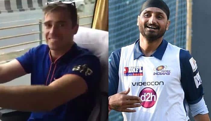 WATCH: Harbhajan Singh trolls Tim Southee after he kept Mumbai Indians' bus waiting due to toilet break