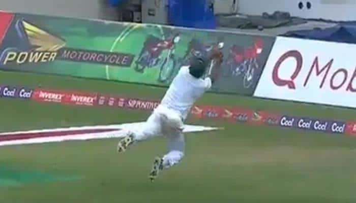 WATCH: Pakistan fast bowler Wahab Riaz takes extraordinary catch to dismiss West Indies' Roston Chase