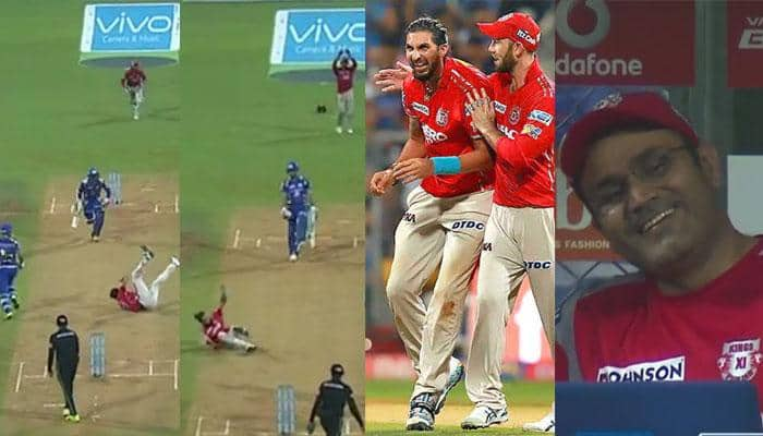 WATCH: Glenn Maxwell, Virender Sehwag cannot stop laughing after Ishant Sharma's stumbling act in MI vs KXIP match