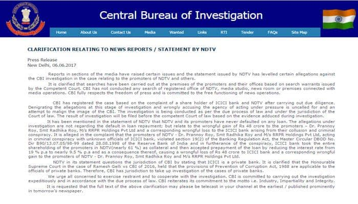 CBI issues statement on raids against NDTV's Prannoy Roy, here's what the agency has to say - FULL TEXT