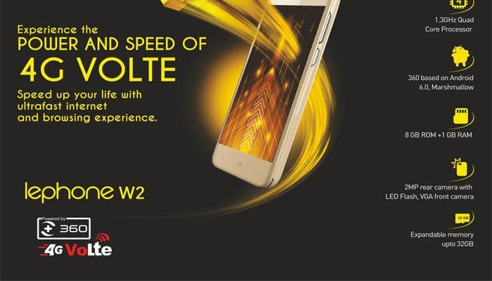 'lephone W2' smartphone at Rs 3,999 unveiled