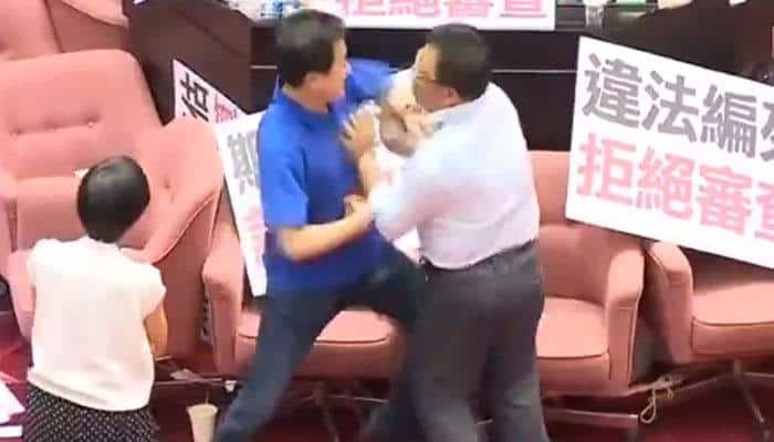 Taiwanese lawmakers grab each other's throat protesting over budget, video goes viral - WATCH