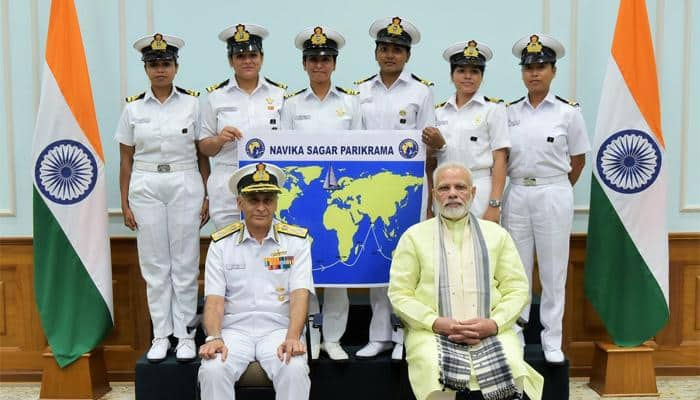 PM Narendra Modi meets all-women crew of Indian Navy to sail around globe