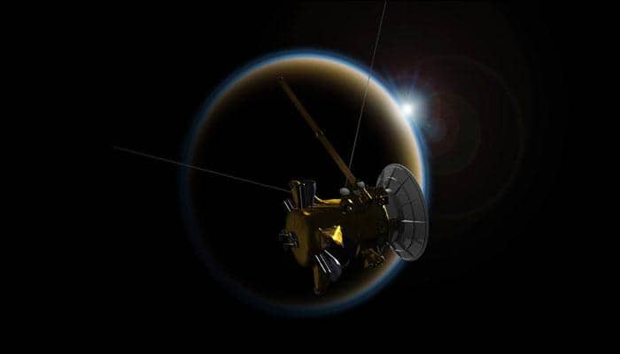 Cassini gives Titan a 'goodbye kiss' as it takes a final glimpse of Saturn's giant moon