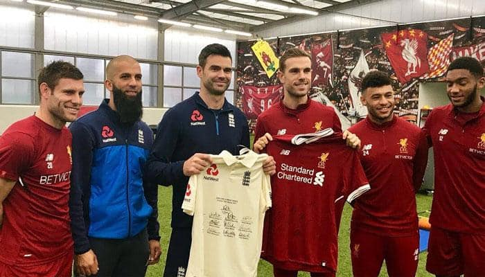 See pics: Moeen Ali, James Anderson meet Liverpool stars at Anfield